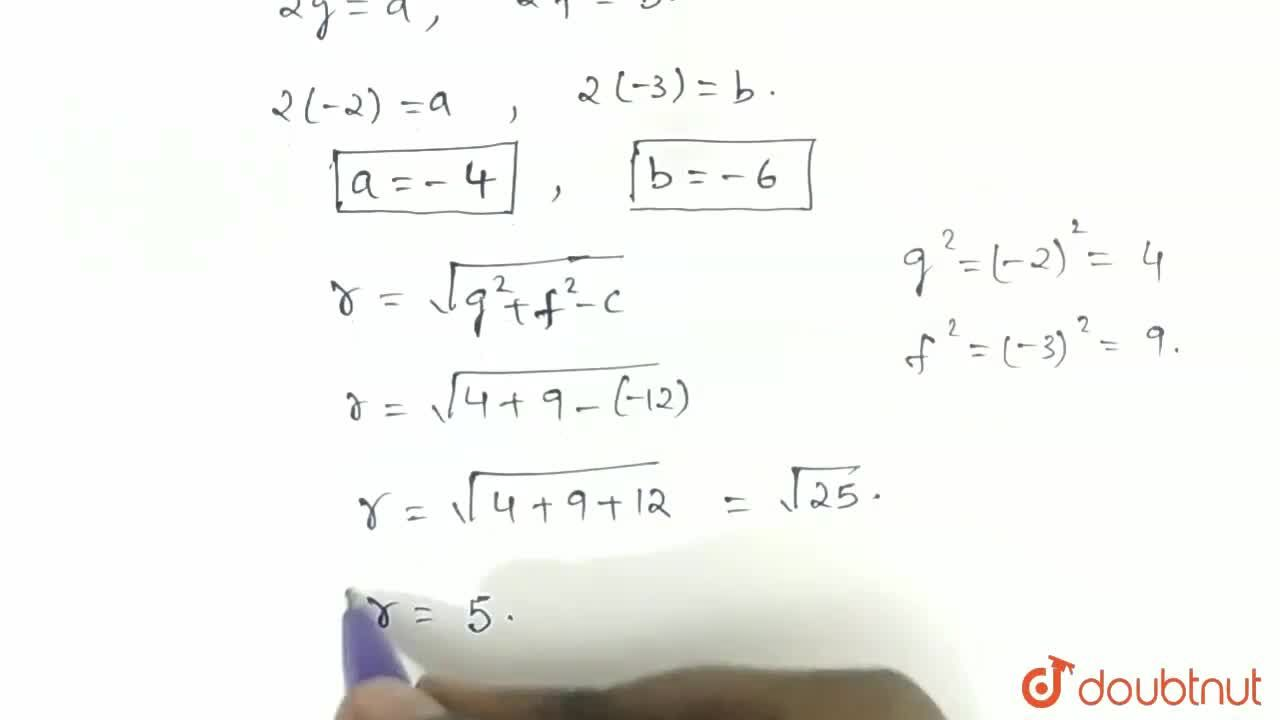 Solution for If the circle x^(2)+y^(2)+ax+by-12=0 has <br> th