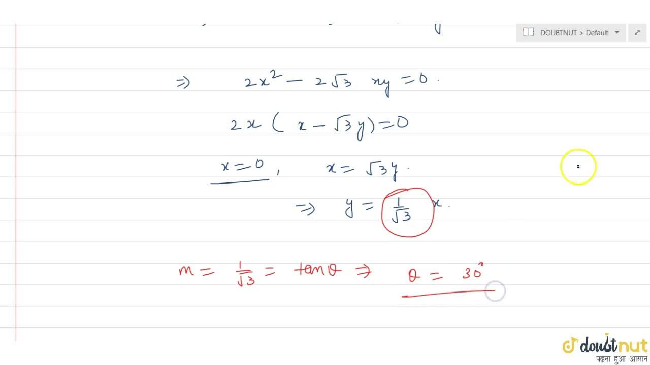 The acute angle between lines joining origin and intersection points of line sqrt3x + y - 2 = 0 and the circle x^2 + y^2 = 4 is