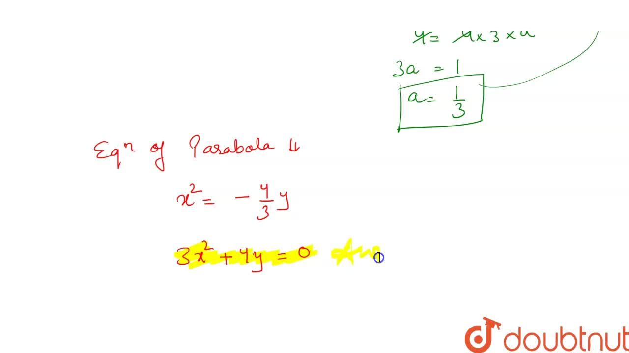 Solution for Find the equation of the parabola with vertex at o