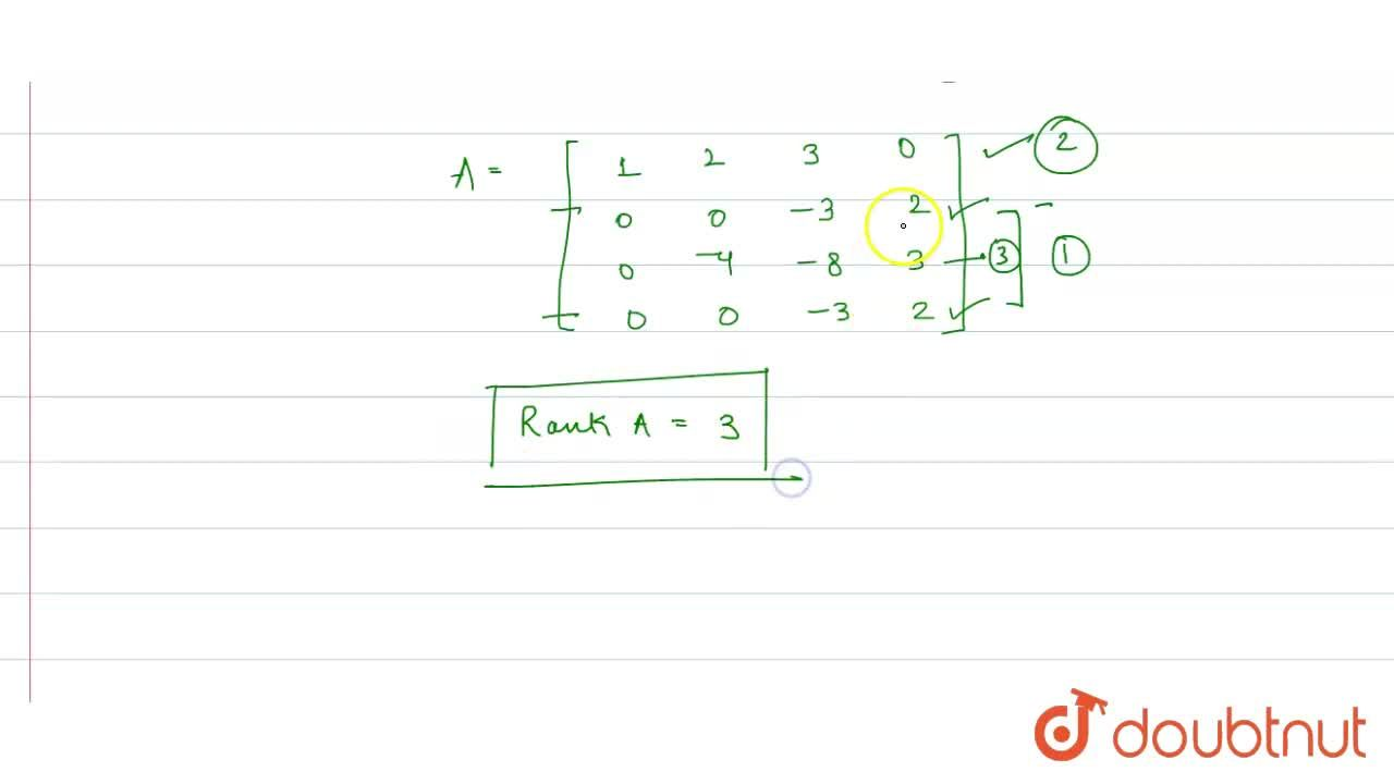 Solution for The rank of the matrix {:[(1,2,3,0),(2,4,3,2),(3,
