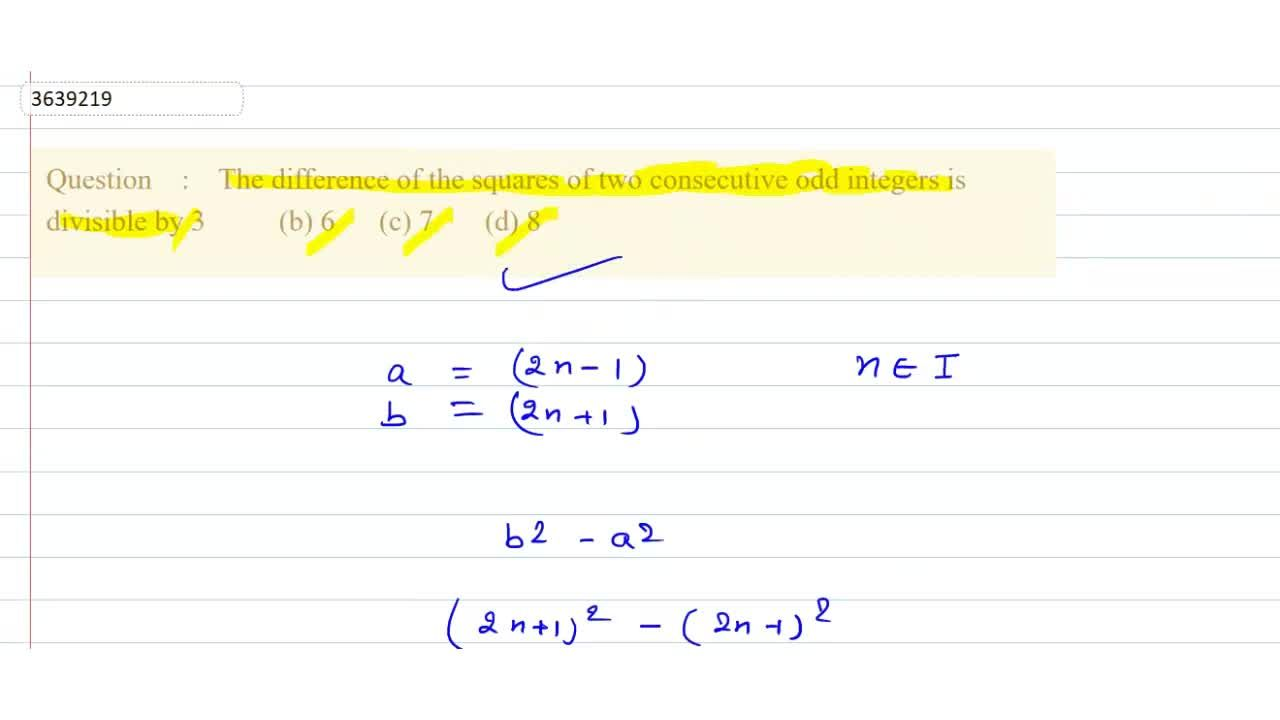 Solution for The difference of the squares of two   consecutiv