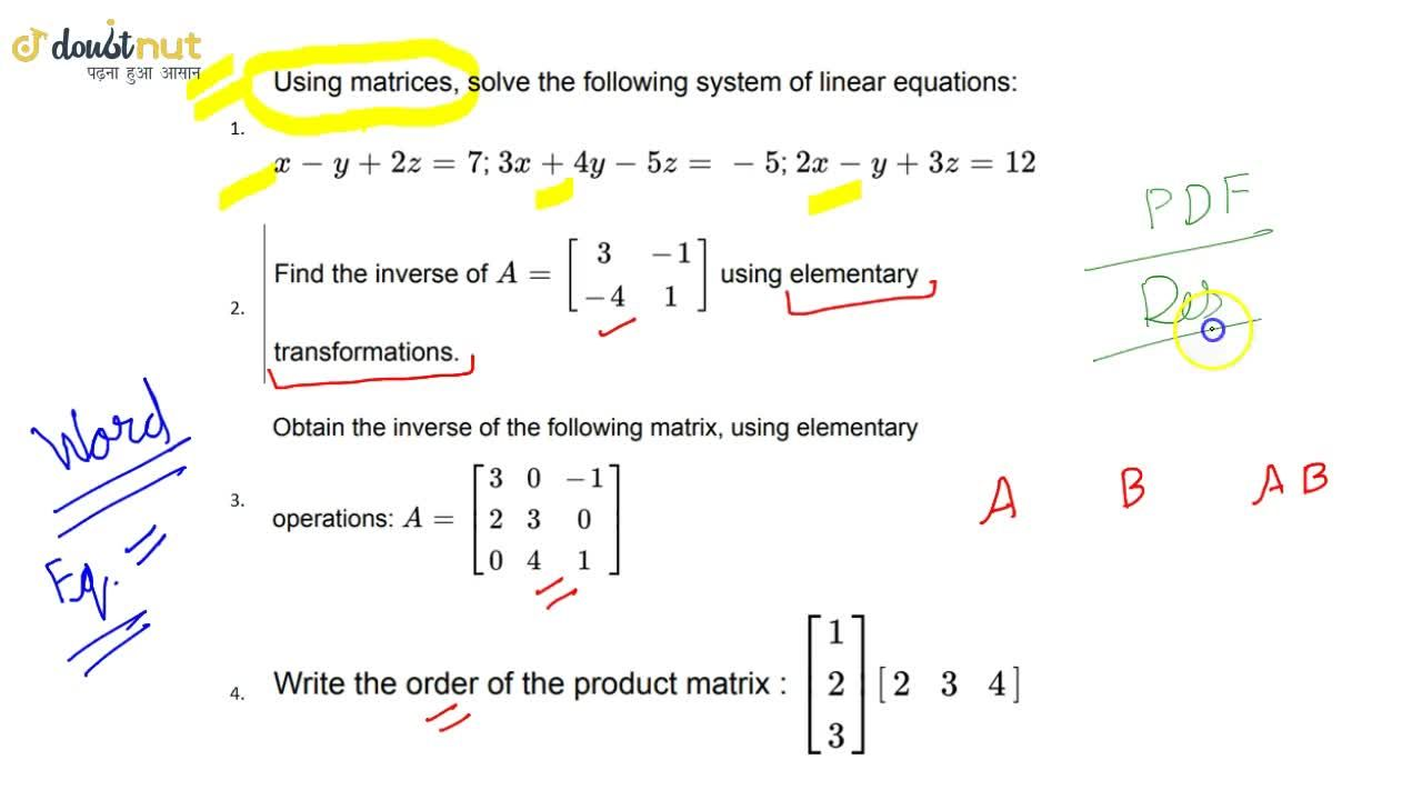 Solution for Class 12 Maths Most Important Questions   Matrices