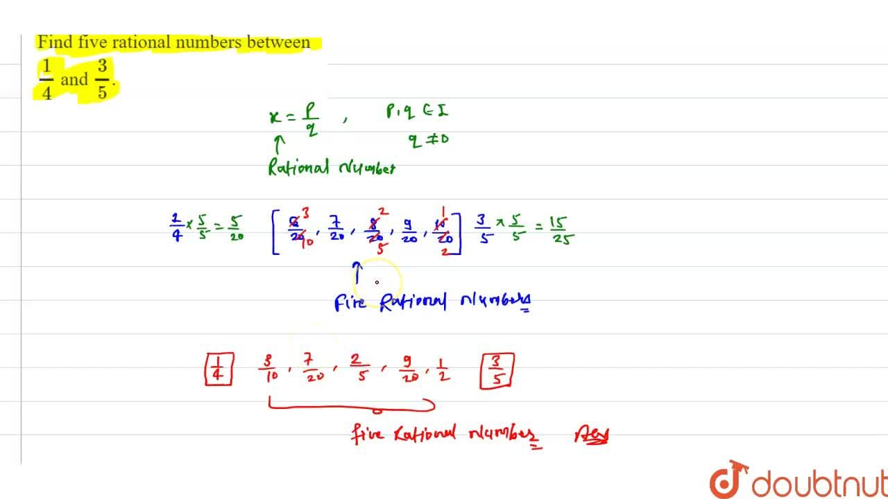Find five rational numbers between 1,4 and 3,5.
