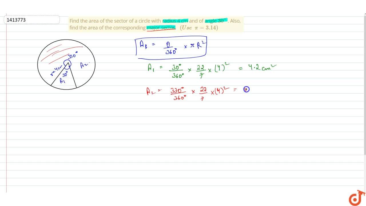 Solution for Find the area of the sector of a circle with   ra