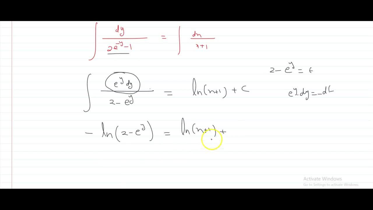find the particular solution satisfying the given condition, for the following differential equation: (x+1)(dy),(dx)=2e^-y-1 given that y=0 when x=0