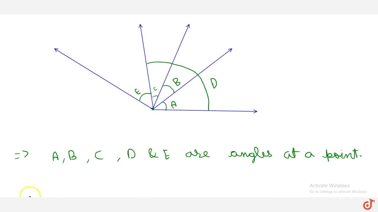 Solution for ANGLES AT A POINT Angles formed by a number of ray