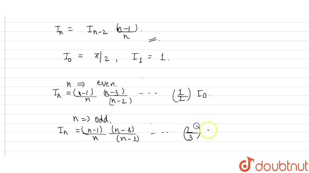 Solution for If I_(n)=int_(0)^(pi,2) sin^(x)x dx, then show t