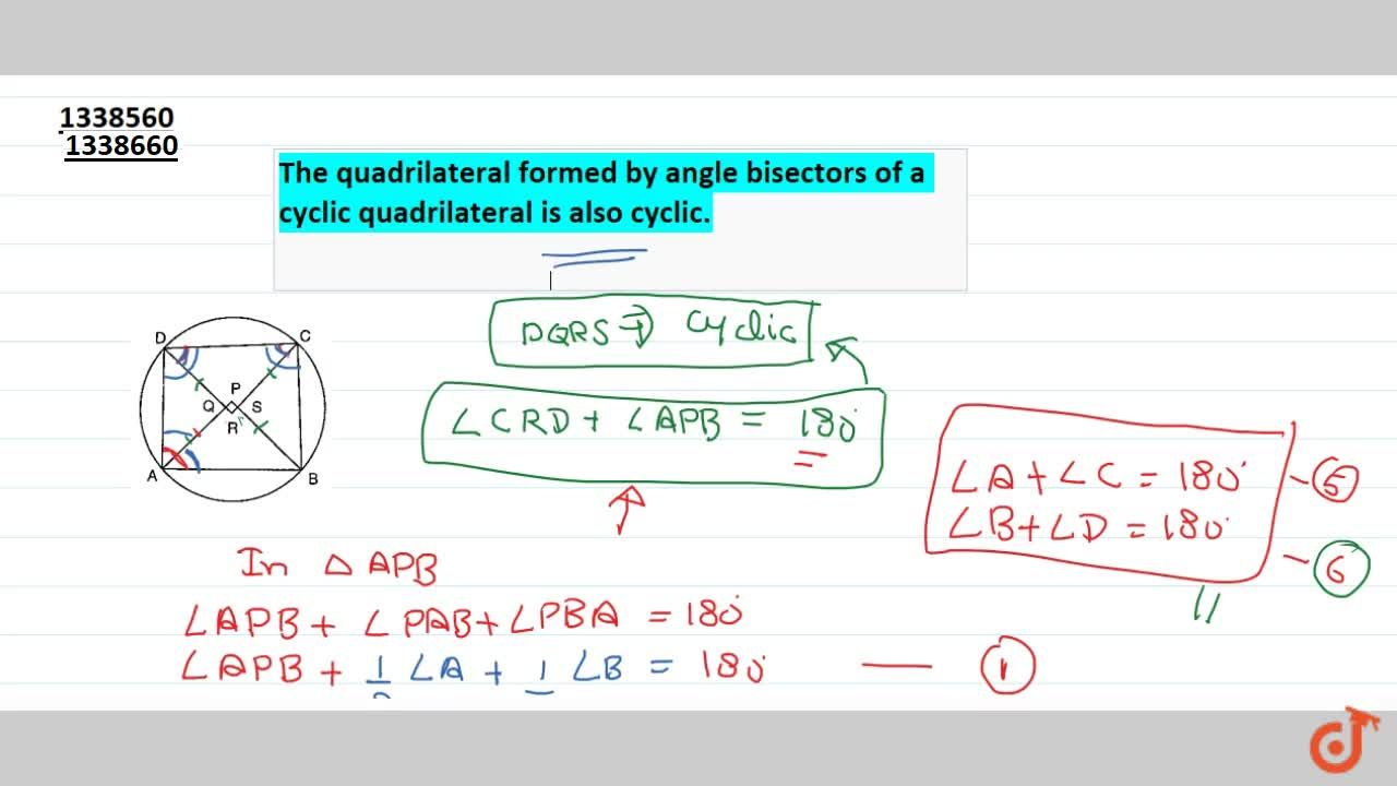 Solution for The quadrilateral formed by angle bisectors of a c