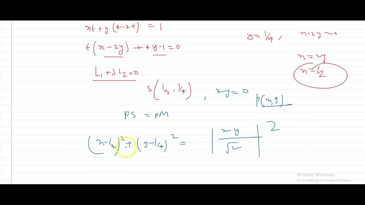 The tangents are drawn to x^2 + y^2 = 1 from any arbitary point P on the line 2x+ y - 4 = 0. The corresponding chord of contact passes through a fired point B equation of parabola with focus s and directrix x - y=0 is