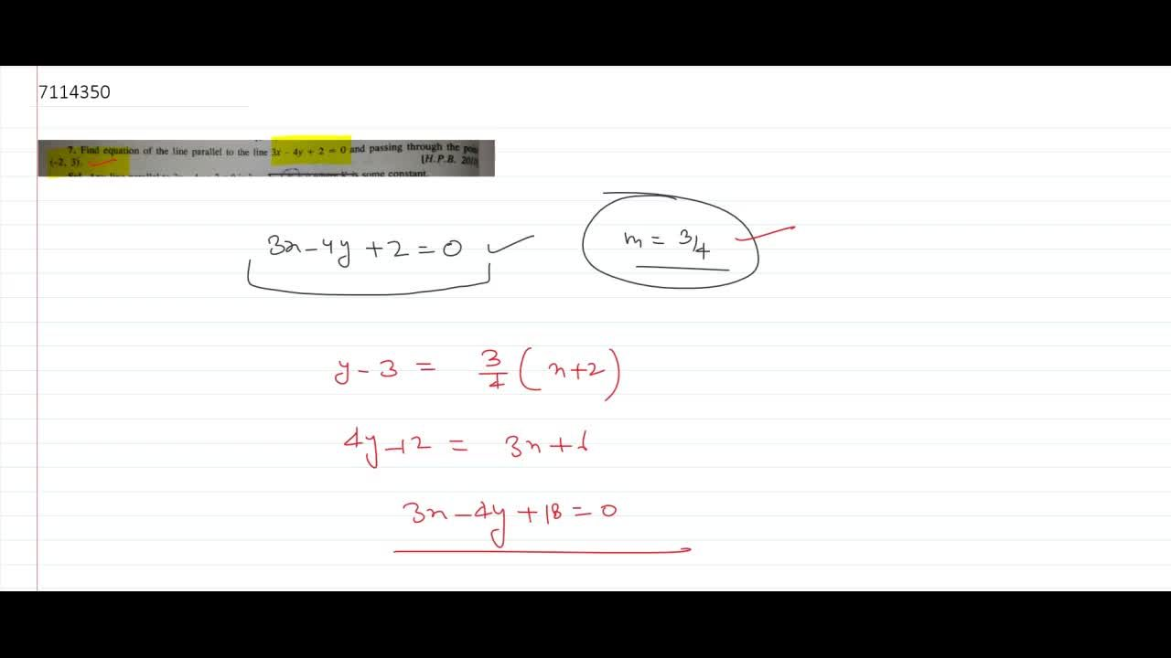 Solution for find equation of the line parallel to the line 3x