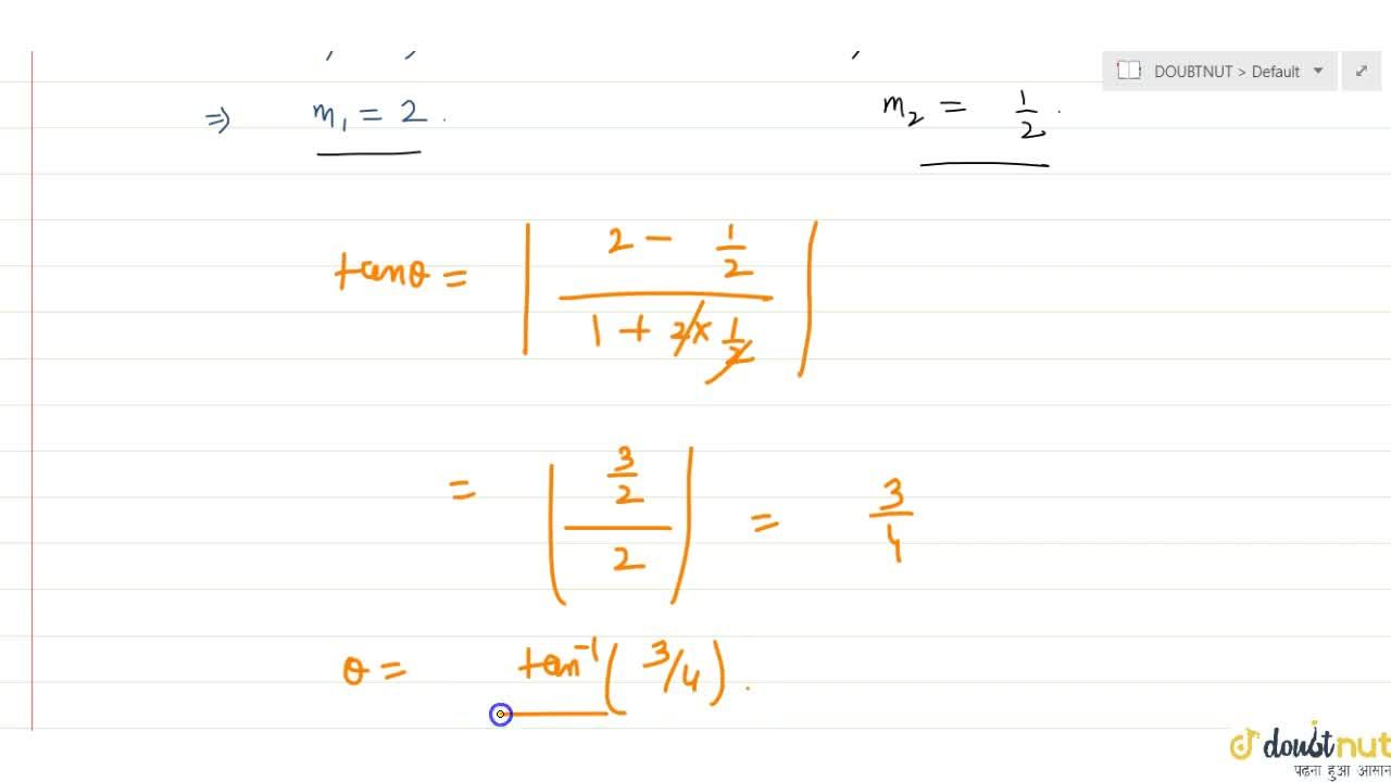 Solution for The angle between the curves x^2=4y and y^2=4x a