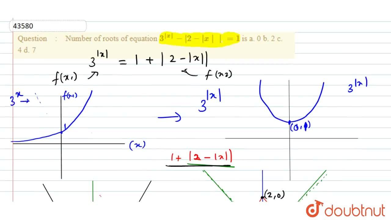 Number of roots of equation 3^(|x|)-|2-|x||=1 is a. 0 b. 2 c. 4 d. 7