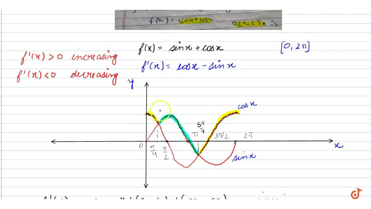 Find the intervals in which the function f given by  f(x)=sinx+cosx ,\ \ \ \ \ \ \ \ \ \ \ \ \ \ 0lt=x\ lt=2pi  is strictly increasing or strictly decreasing.