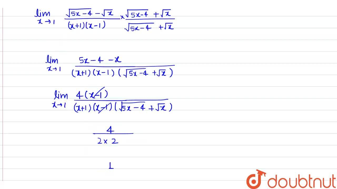 Solution for Evaluate the following limit: (lim)_(x->1)(sqrt(5