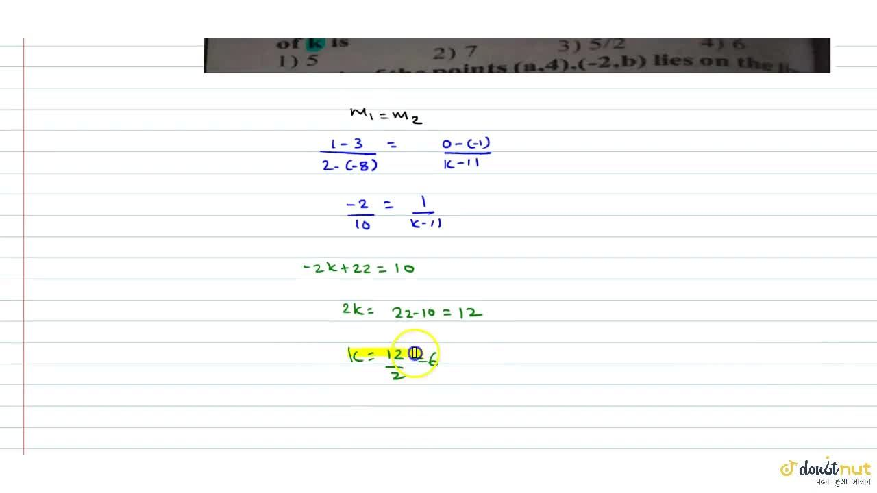 Solution for If the line passing through the(-8,3) (2,1) is par