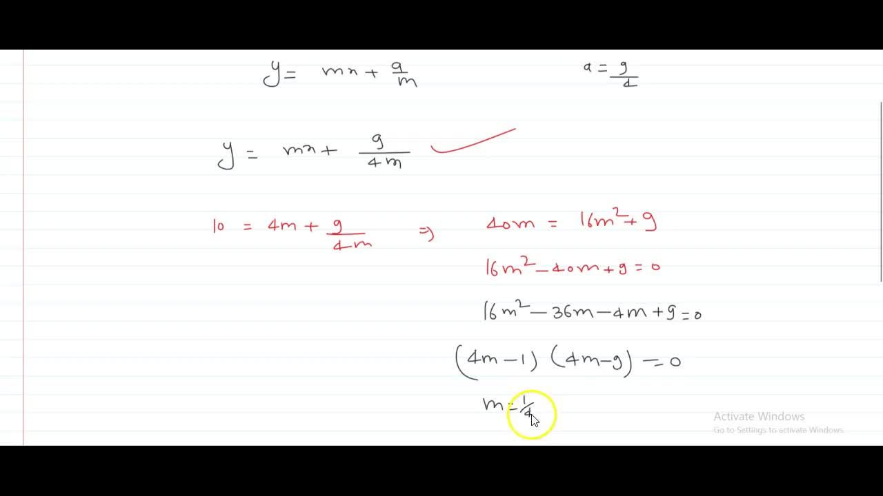 Solution for The slopes of tangents drawn from a point (4, 10)