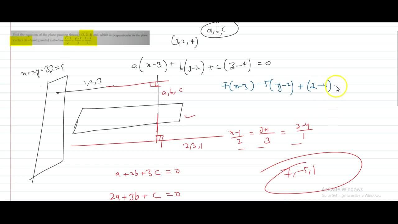 Solution for Find the equation of the plane passing through (3