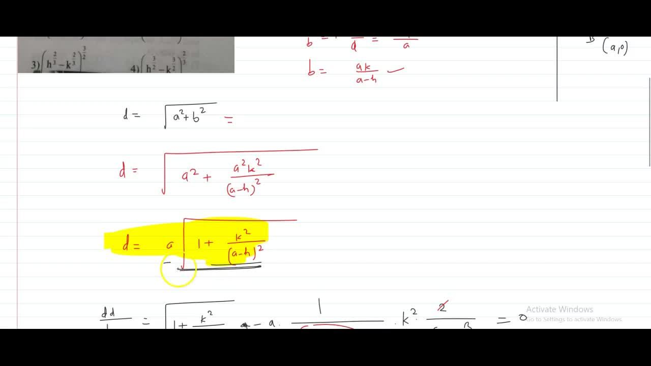 Solution for A straight line through the point (h,k) where h