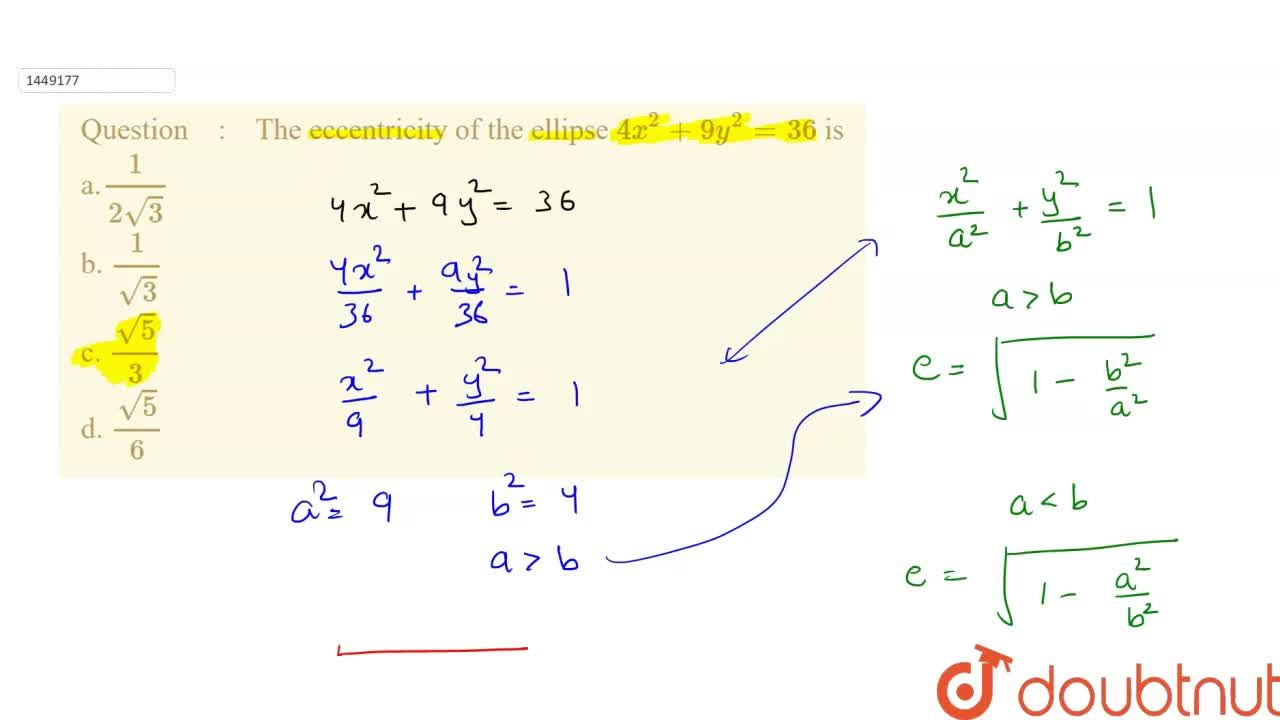 Solution for The eccentricity of the ellipse 4x^2+9y^2=36 is<