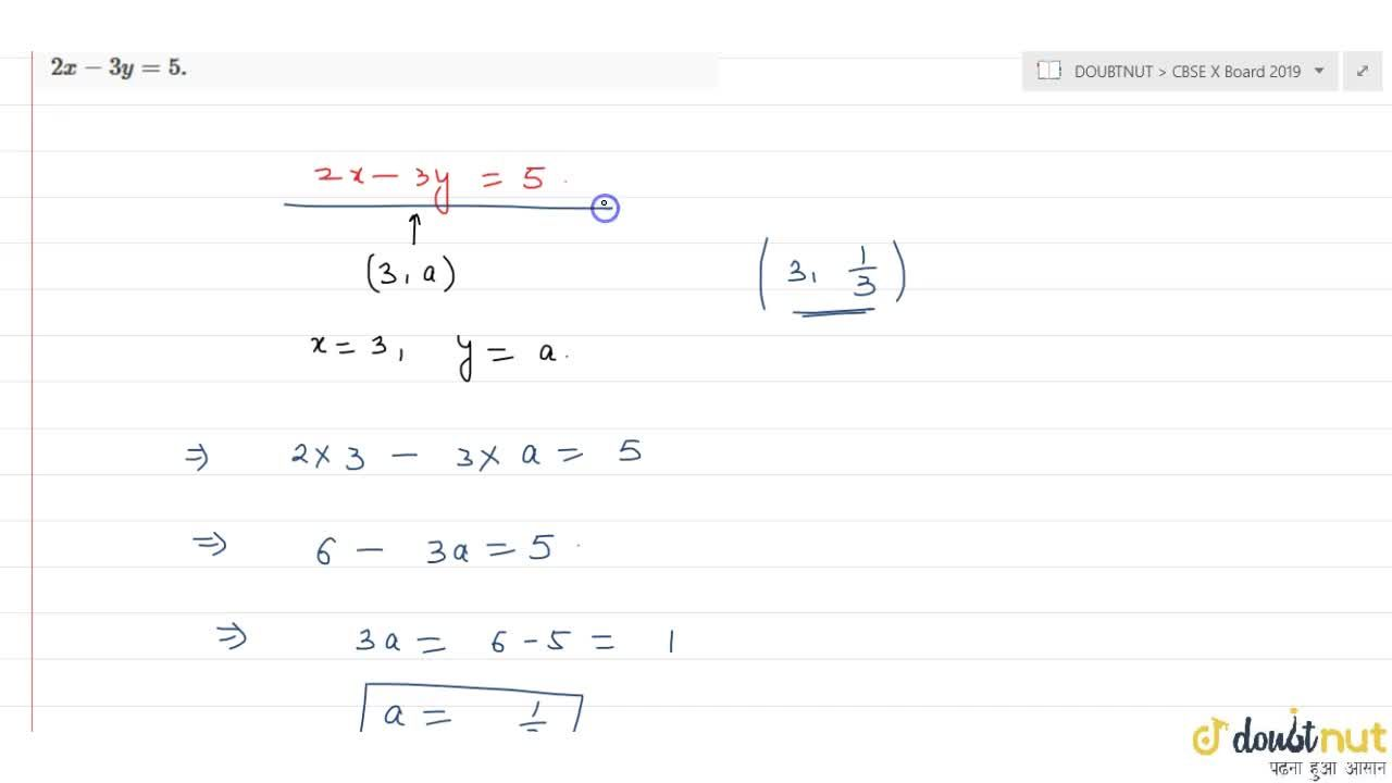 Solution for Find the value of a so that the point (3,a) li