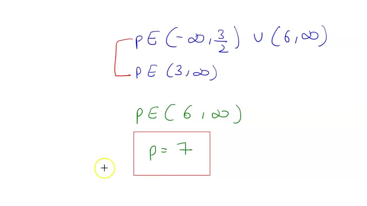 Solution for the smallest integral value of p for which the i