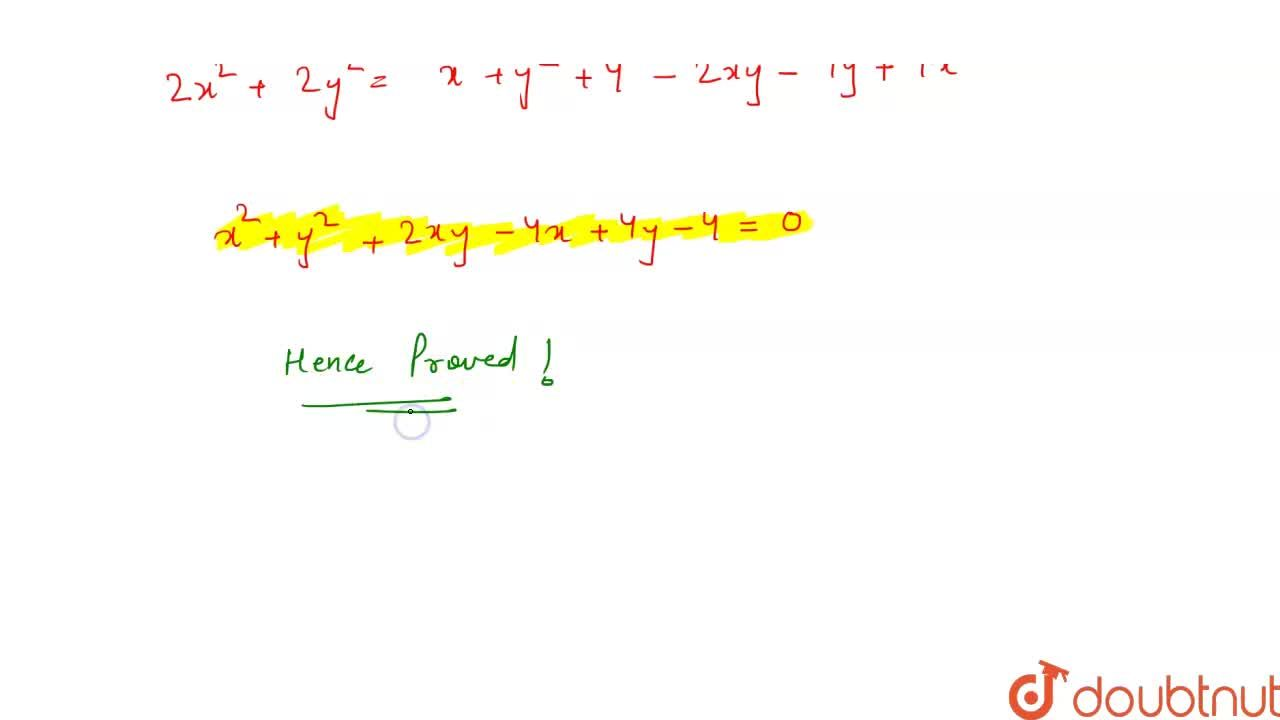 Prove that the equation of the parabola whose focus is (0, 0) and tangent at the vertex is x-y+1 = 0 is x^2 + y^2 + 2xy - 4x + 4y - 4=0.