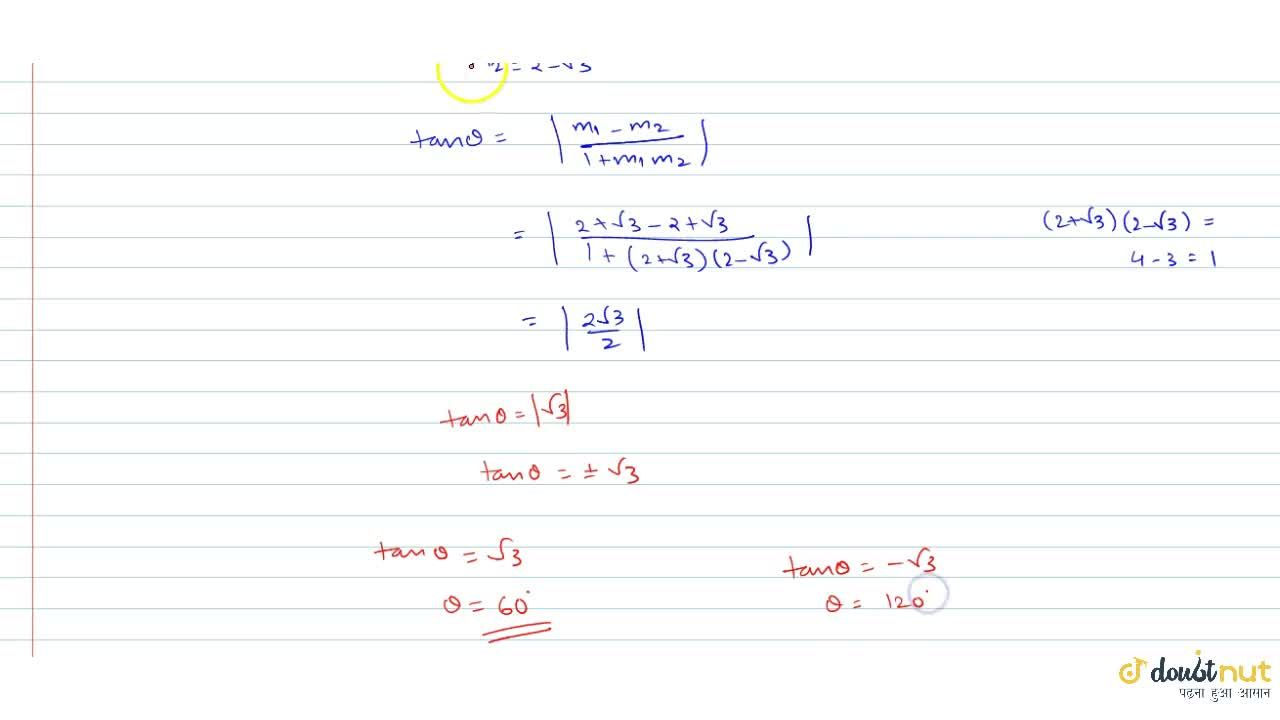 Solution for What is the angle between the two straight lines