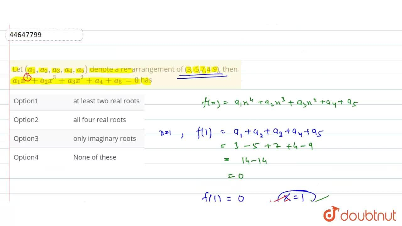 Solution for Let (a_(1),a_(2),a_(3),a_(4),a_(5)) denote a re=