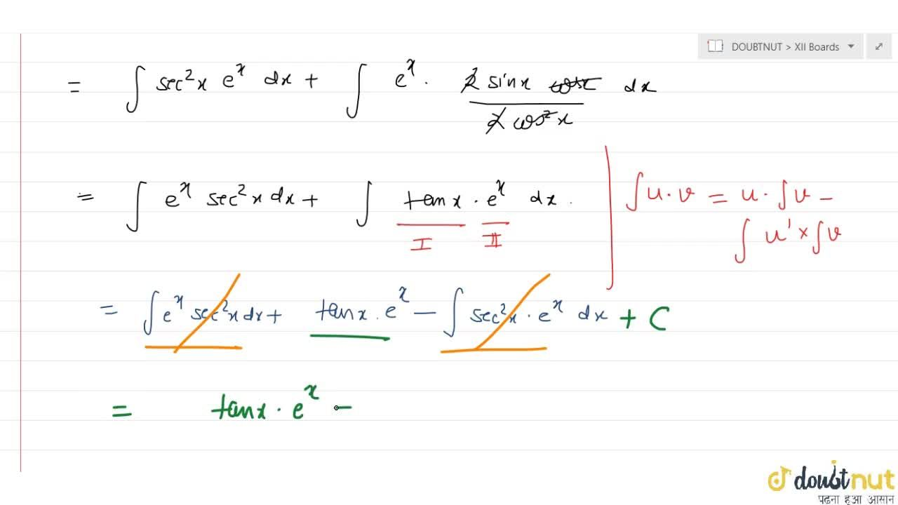 Solution for Find int e^x((2+sin 2x),(2 cos^2x)) dx