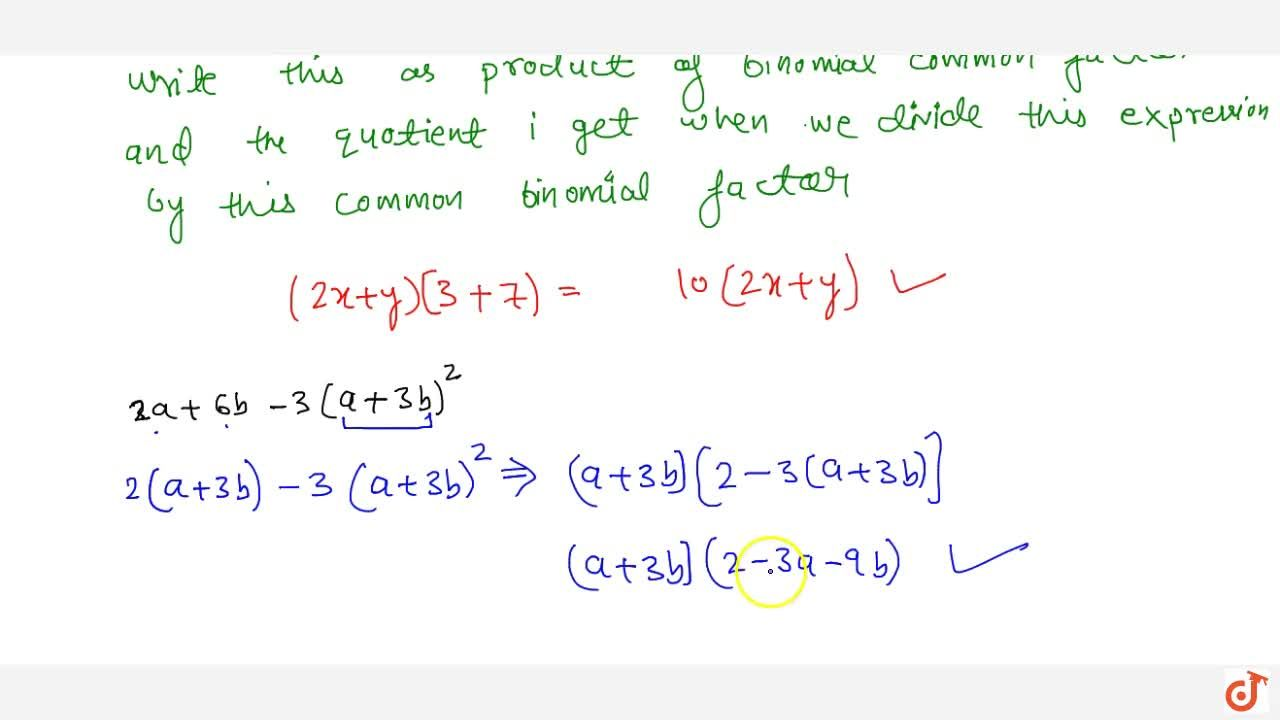 Solution for Factorizations of algebraic expressions when a bin