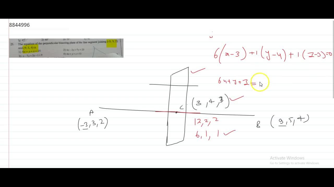 The equation of the perpendicular bisecting plane of the line segment joining (-3, 3, 2) and (9,5, 4) is