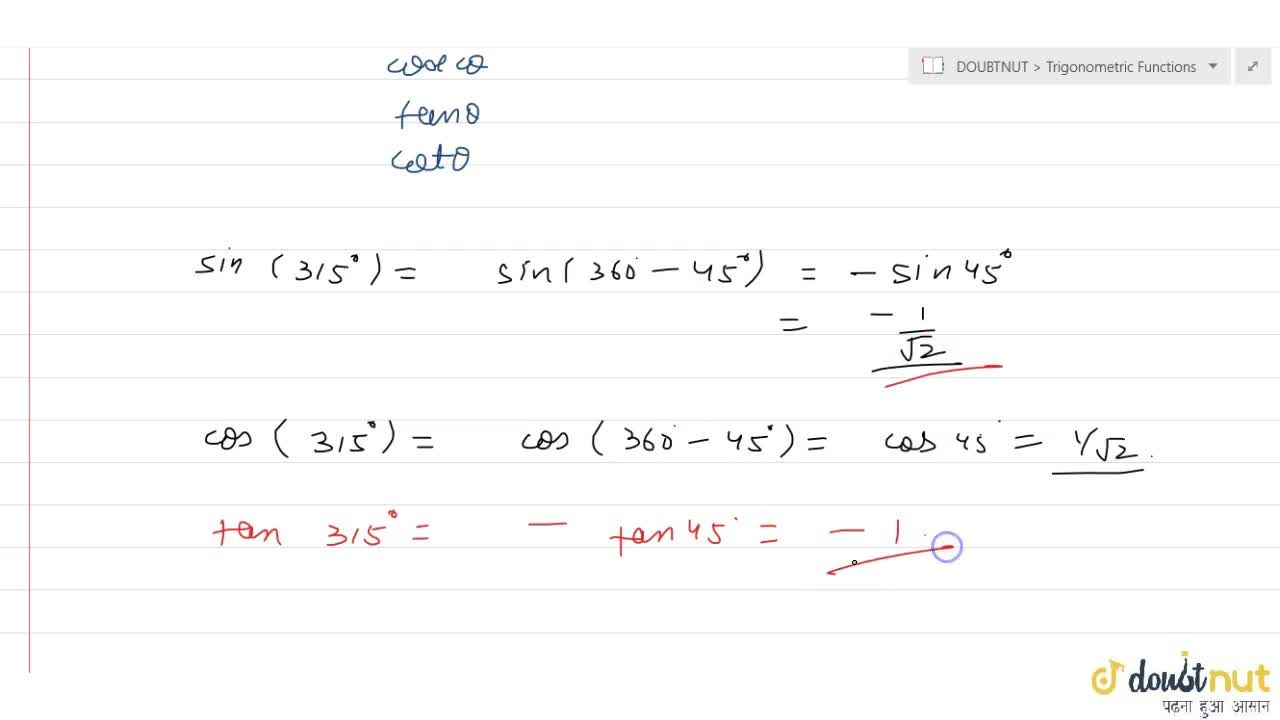 Solution for Which trigonometric ratios are negative for the an