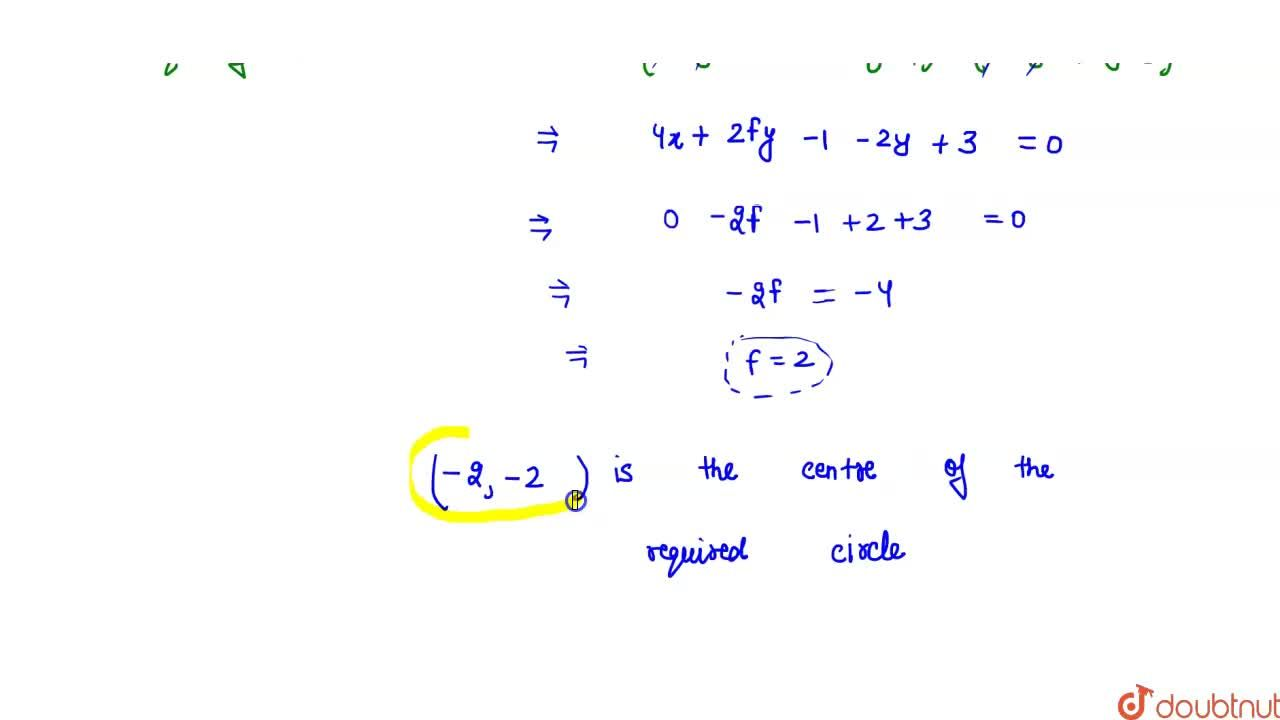 Solution for Coordinates of the centre of the circle which bise