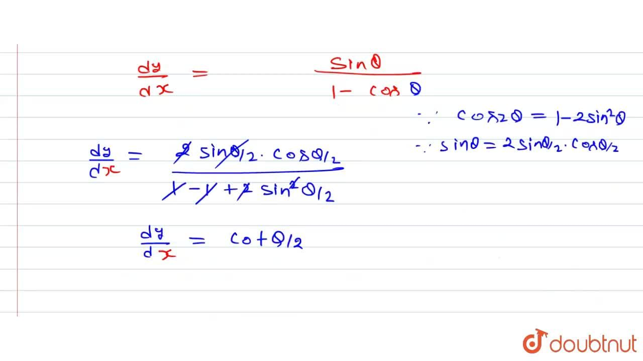 Solution for (dy),(dx) निकालें जब <br> x = a(theta - sin the