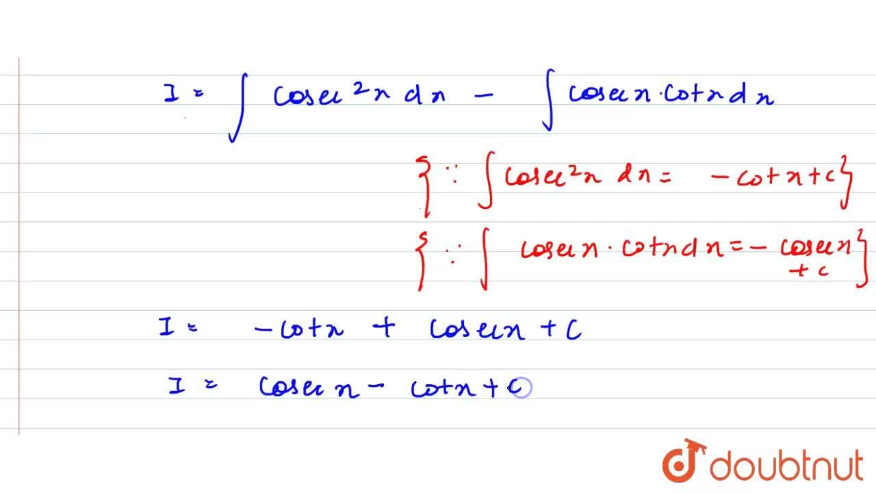 """Solution for समाकलन करें  <br>    int ("""" cosec x """"),(""""cosec x"""