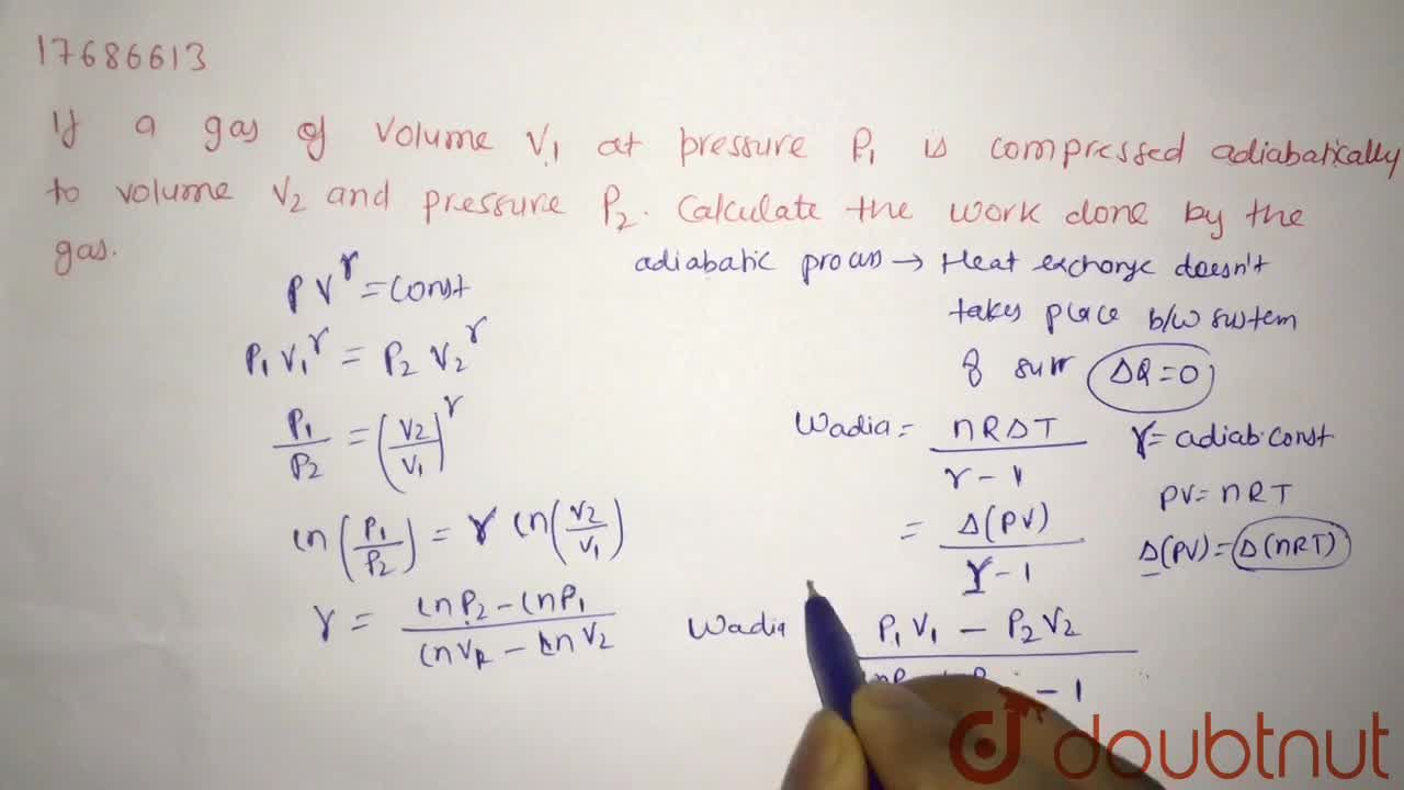 Solution for If a gas of a volume V_(1) at pressure p_(1) i