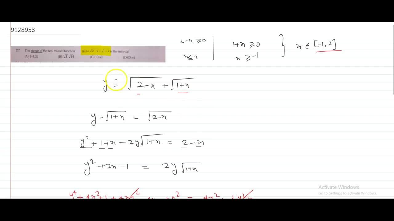The range of the real-valued function f(x)=sqrt(2-x)+sqrt(1+x) is the interval