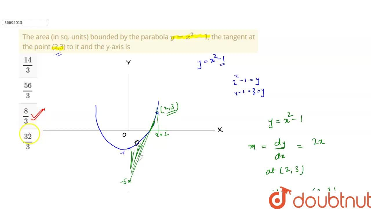 Solution for The area (in sq. units) bounded by the parabola y