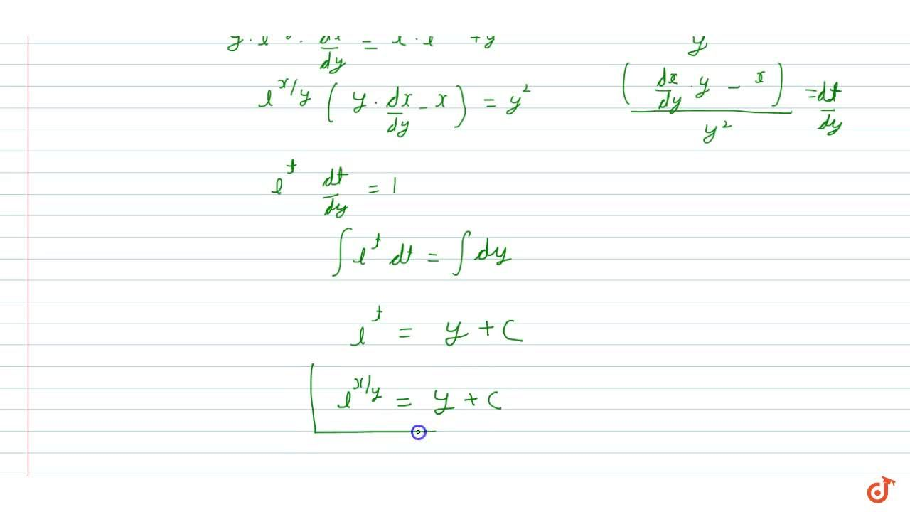 Solution for Solve the differential equation y e^(x,y)dx=(x e^
