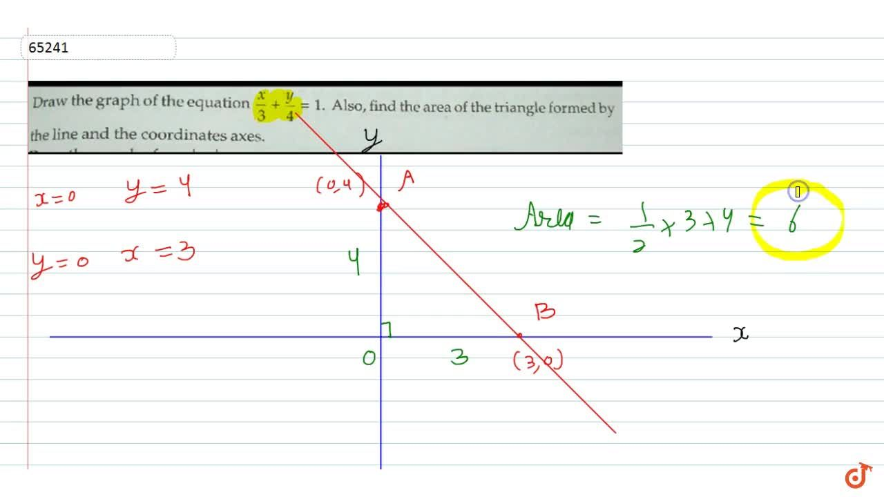 Solution for Draw the graph of the equation x,3+y,4=1. Also,