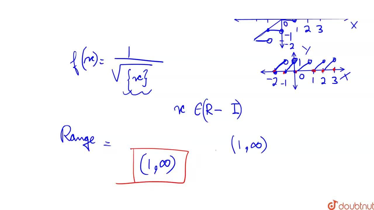 Write the domain and range of function f(x) given by f(x)=1,(sqrt(x-[x]))