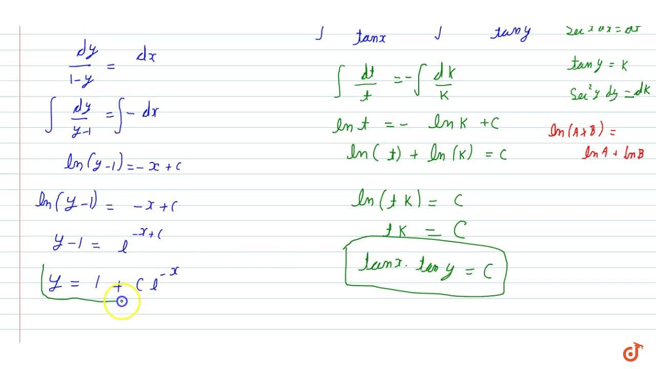 Solution for Find the general solution of  the differential equ