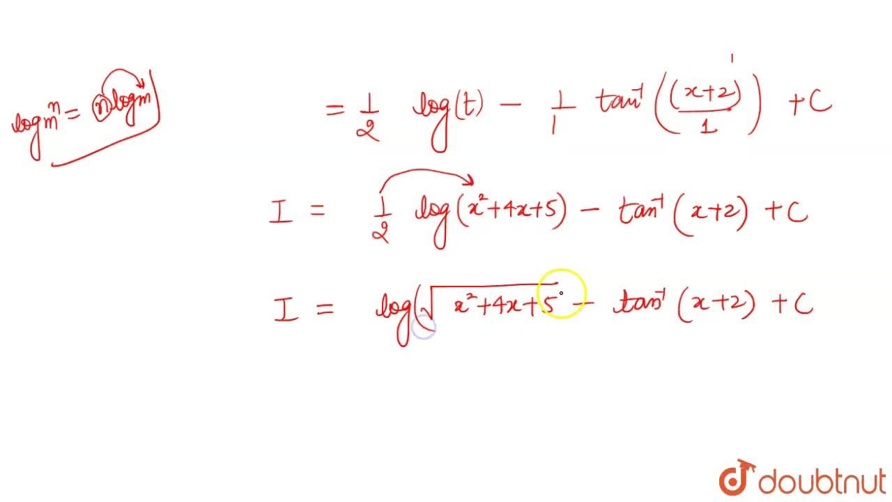 Solution for समाकलन  करें int  ((x+1)dx),(x^(2)+4x +5)