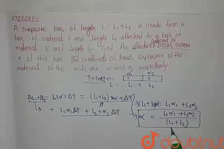 Solution for A composite bar of length L=L_(1)+L_(2) is made