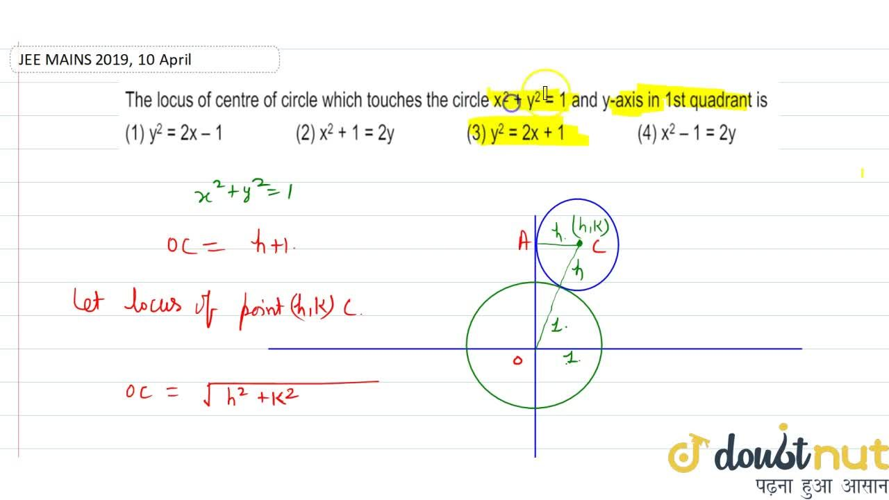 The locus of centre of circle which touches the circle x^(2)+y^(2)=1 and y- axis in 1st quadrant is