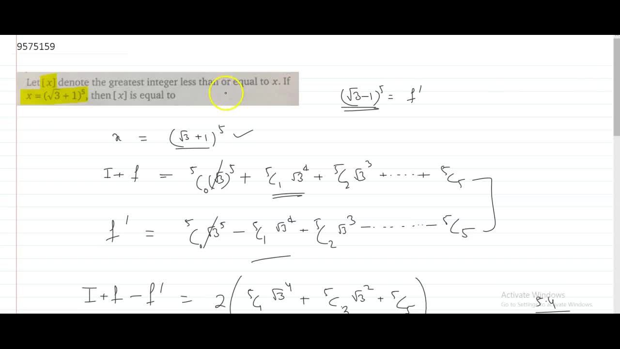 Let `[x]` denote the greatest integer less than or equal to `x.` If `x=(sqrt3 + 1)^5,` then `[x]` is equal to