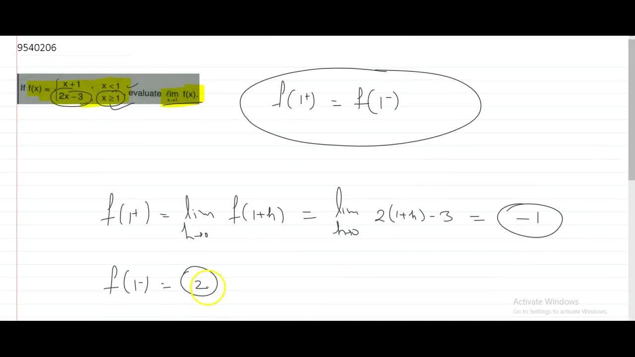 Solution for f(x)={(x+1,; xlt1), (2x-3,; xgeq1):}, evaluate