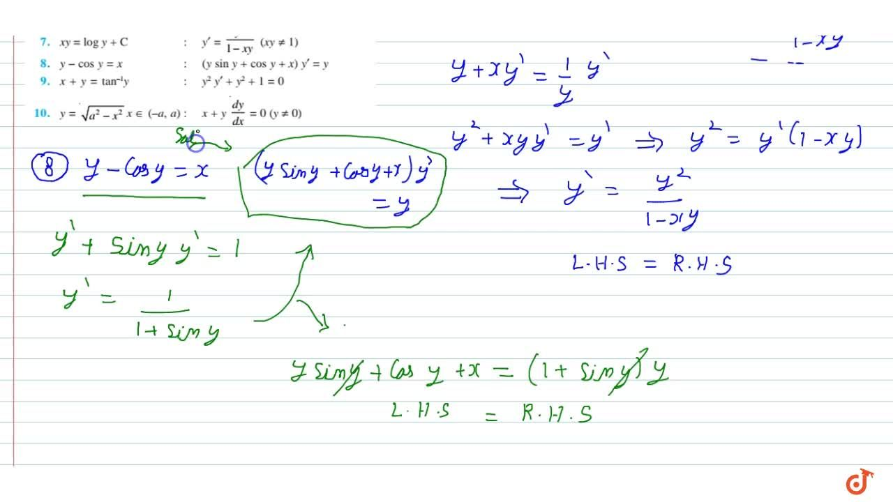 Solution for Verify that the given  functions (explicit or impl