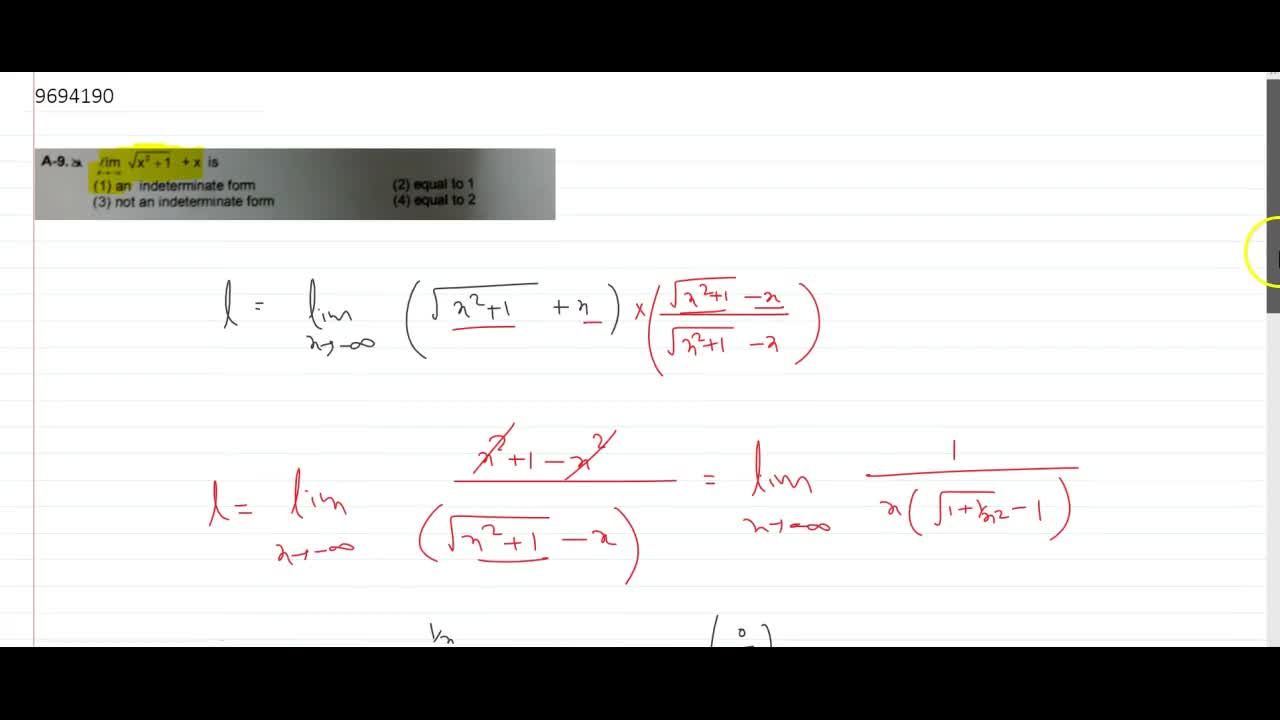Solution for lim_(x rarr -oo)sqrt(x^2+1)+x is