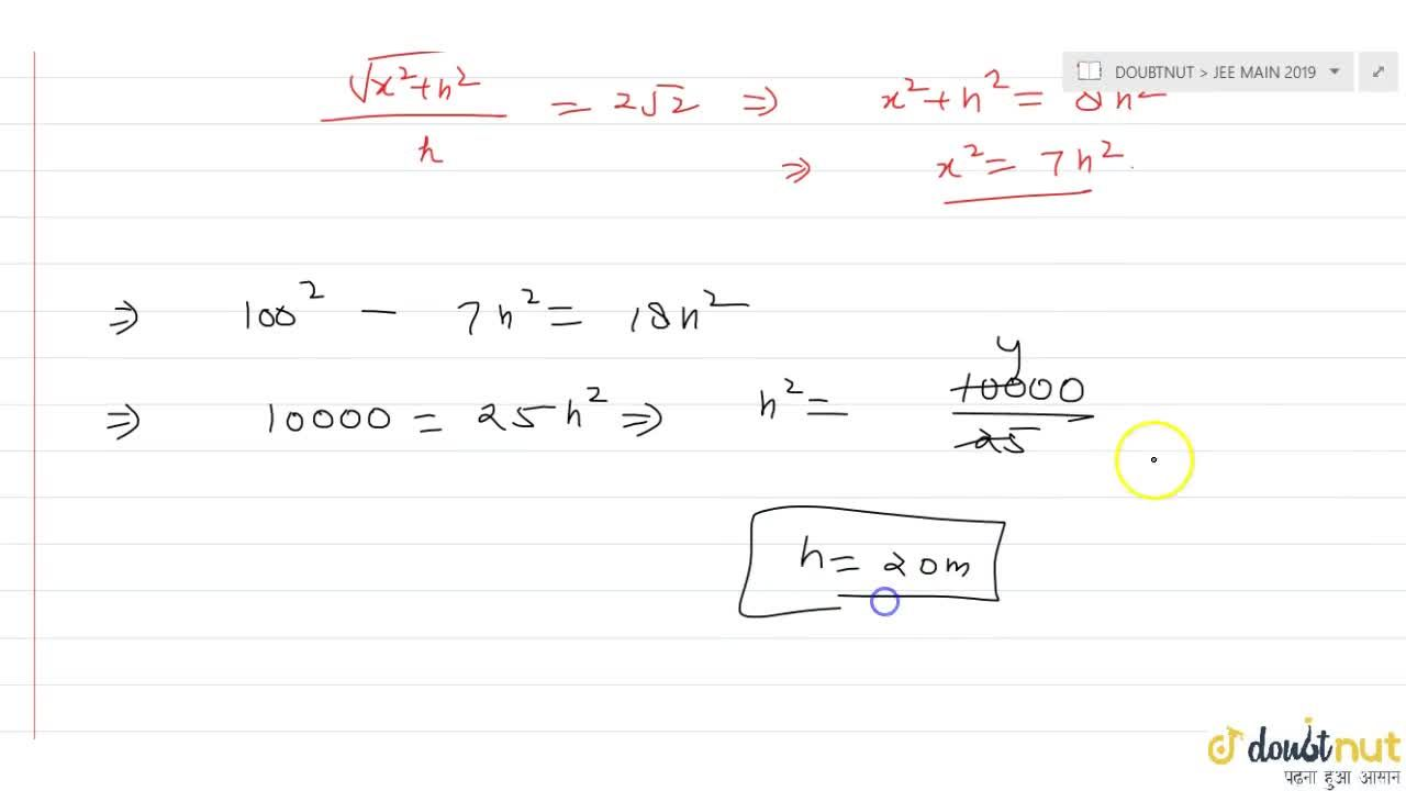Solution for ABC is a triangular park with AB =  AC = 100 metre